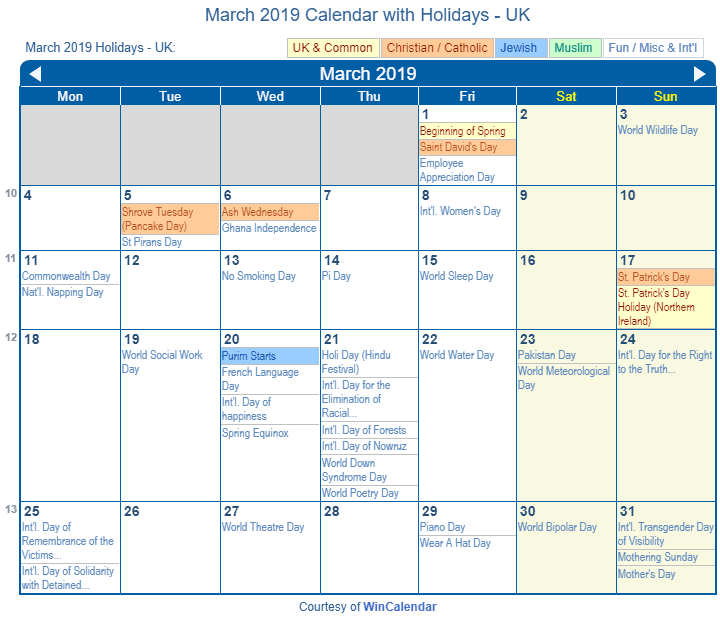 March 2019 Calendar With Holidays Print Friendly March 2019 UK Calendar for printing
