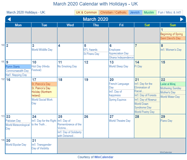 Print Friendly March 2020 UK Calendar For Printing