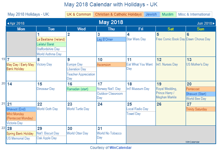 may 2018 calendar with uk holidays to print
