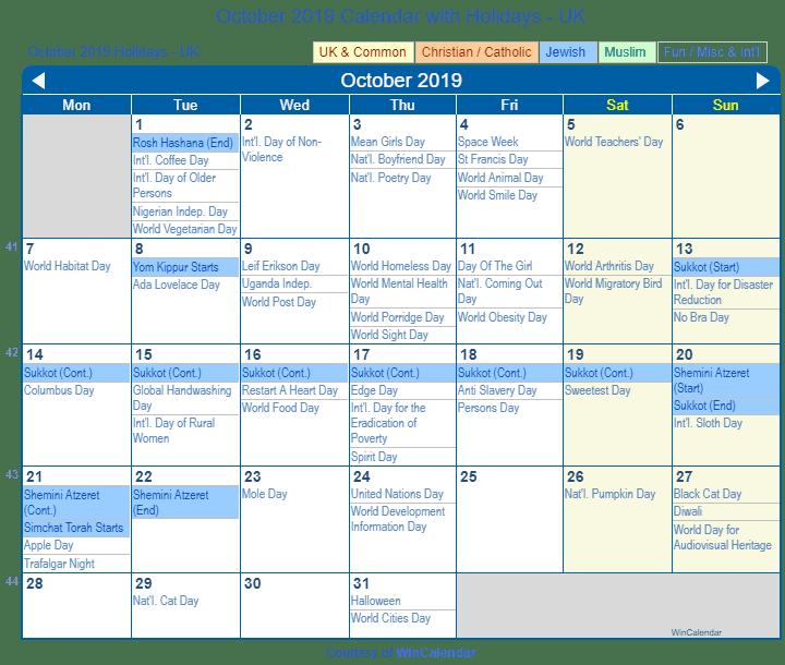 Sukkot 2019 Calendar Print Friendly October 2019 UK Calendar for printing