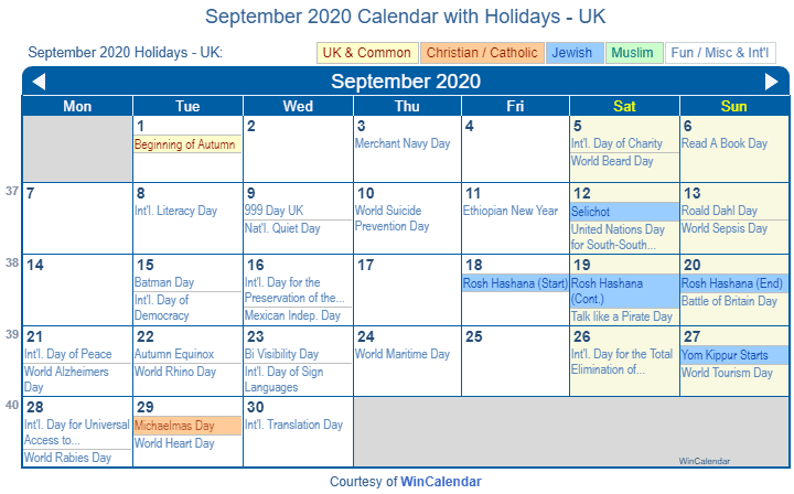 September 2020 Calendar with UK Holidays to Print
