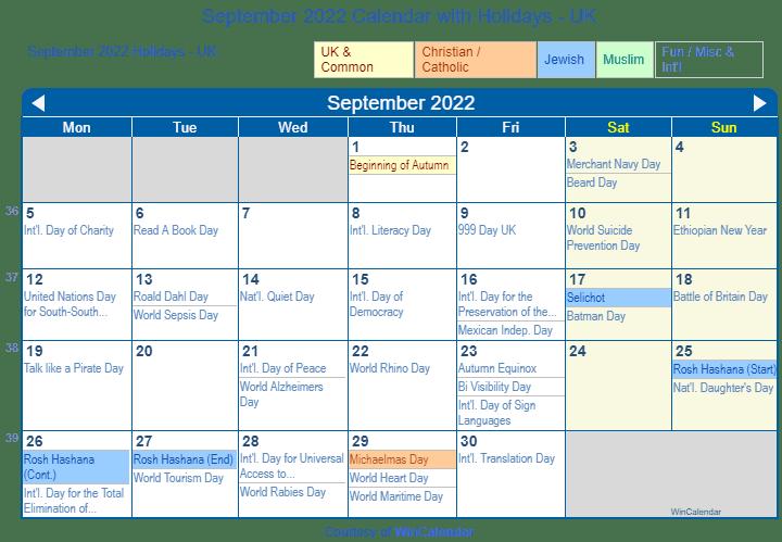 Print Friendly September 2022 Uk Calendar For Printing