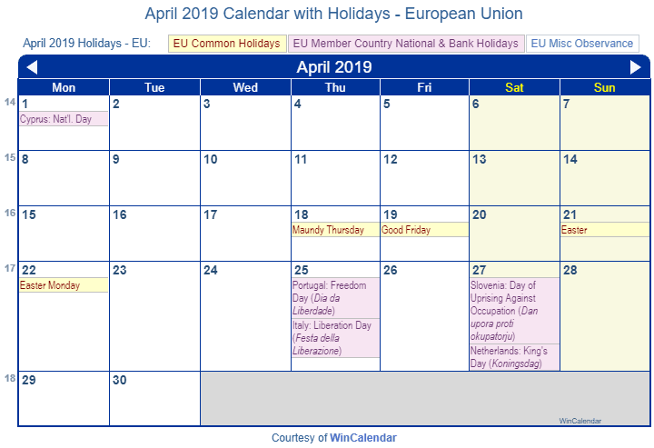 April 2019 Calendar with EU Holidays to Print