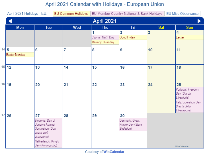 April 2021 Calendar with EU Holidays (Including Christian,  Jewish,)