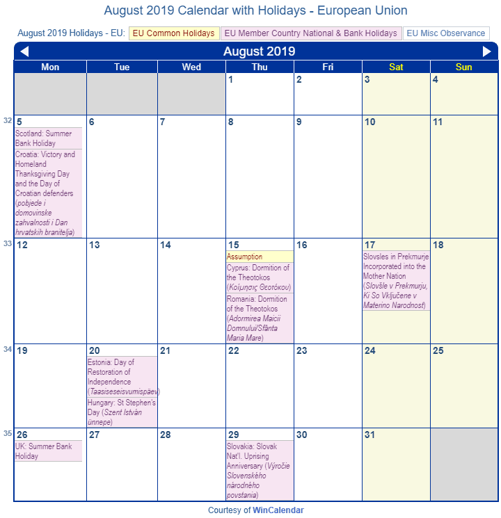 august 2019 calendar with eu holidays to print