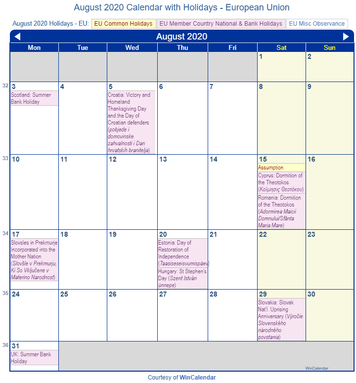 Print Friendly August 2020 EU Calendar for printing