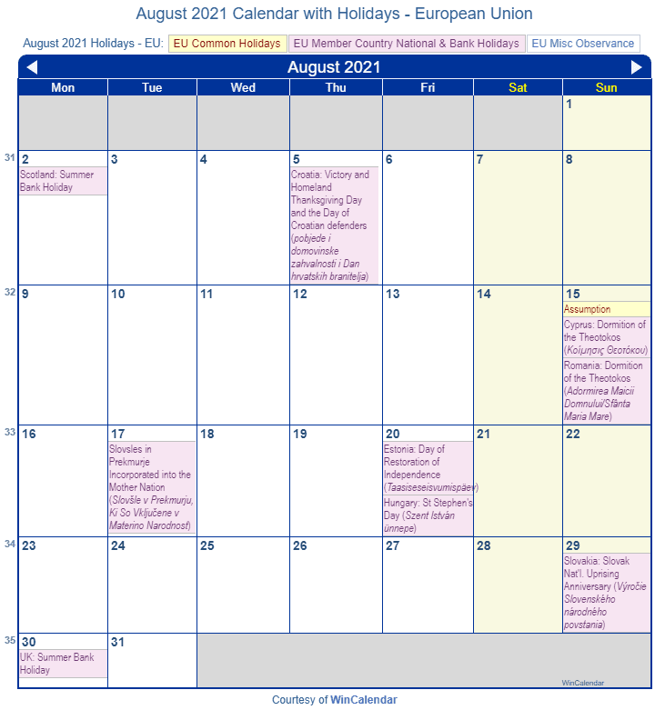 August 2021 Calendar With Holidays Print Friendly August 2021 EU Calendar for printing