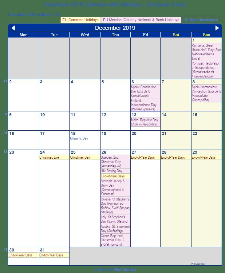 Print Friendly December 2019 Eu Calendar For Printing