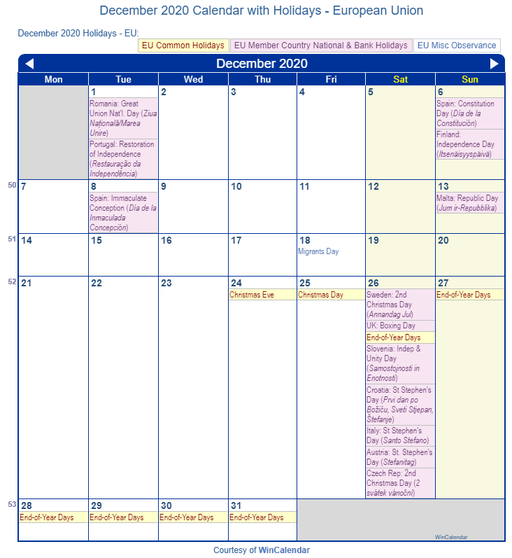 December 2020 Calendar with EU Holidays (Including Christian,  Jewish,)