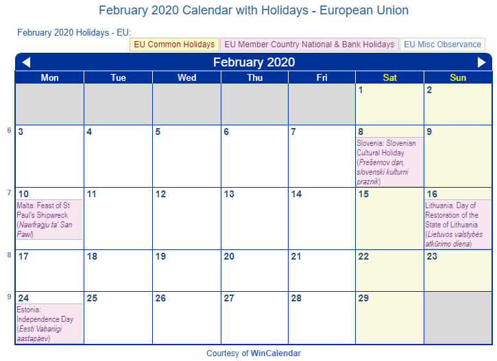 February 2020 Calendar with EU Holidays (Including Christian,  Jewish,)