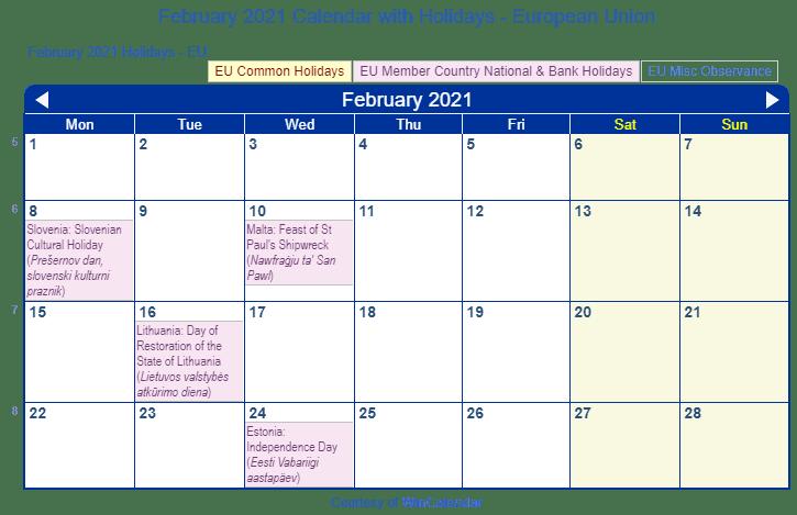 Print Friendly February 2021 EU Calendar for printing