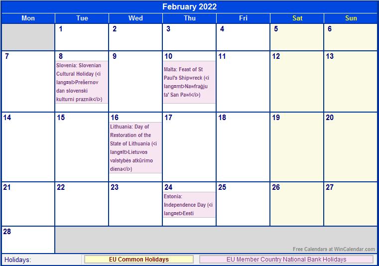 February 2022 EU Calendar with Holidays for printing ...