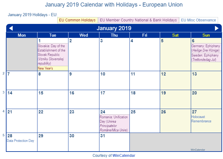 Print Friendly January 2019 Eu Calendar For Printing