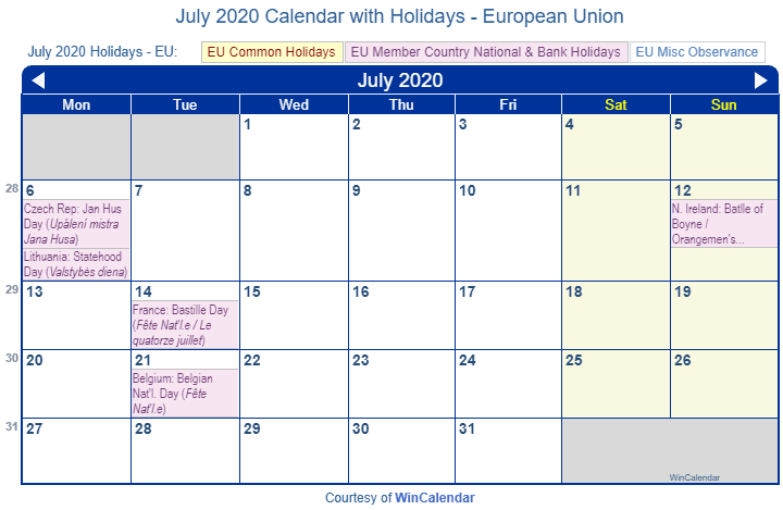 July 2020 Calendar with EU Holidays (Including Christian,  Jewish,)