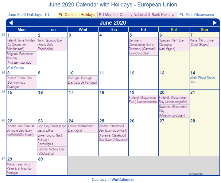 Print Friendly June 2020 Eu Calendar For Printing
