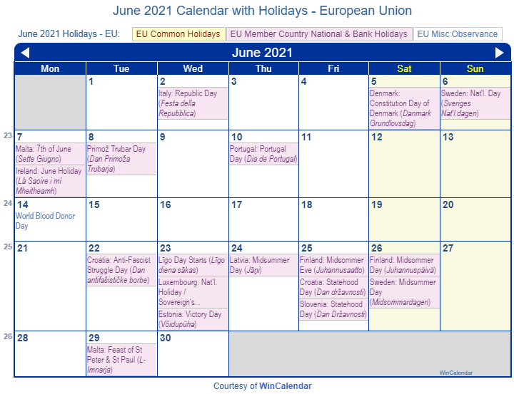 June 2021 Calendar with EU Holidays (Including Christian,  Jewish,)