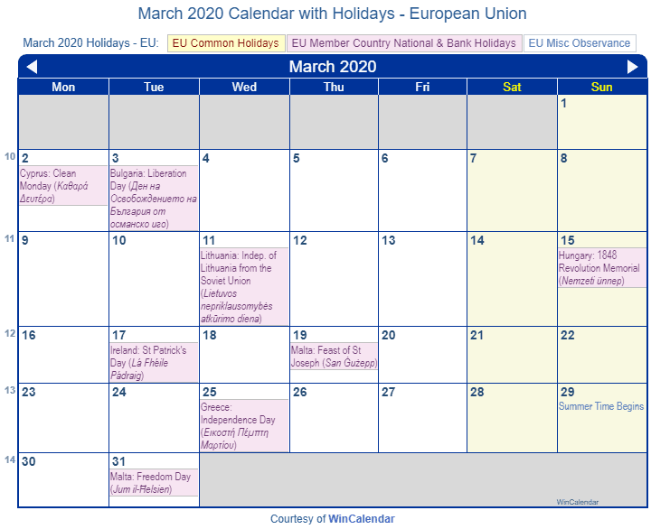 March 2020 Calendar With Holidays Print Friendly March 2020 EU Calendar for printing