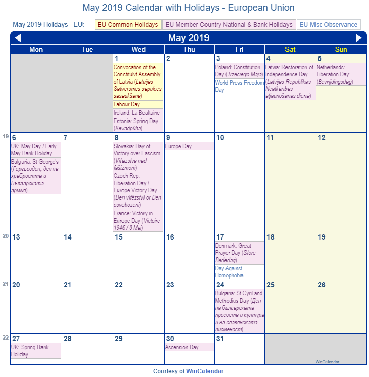 Print Friendly May 2019 Eu Calendar For Printing