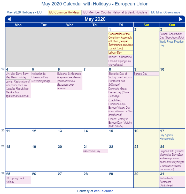 May 2020 Calendar with EU Holidays (Including Christian,  Jewish,)