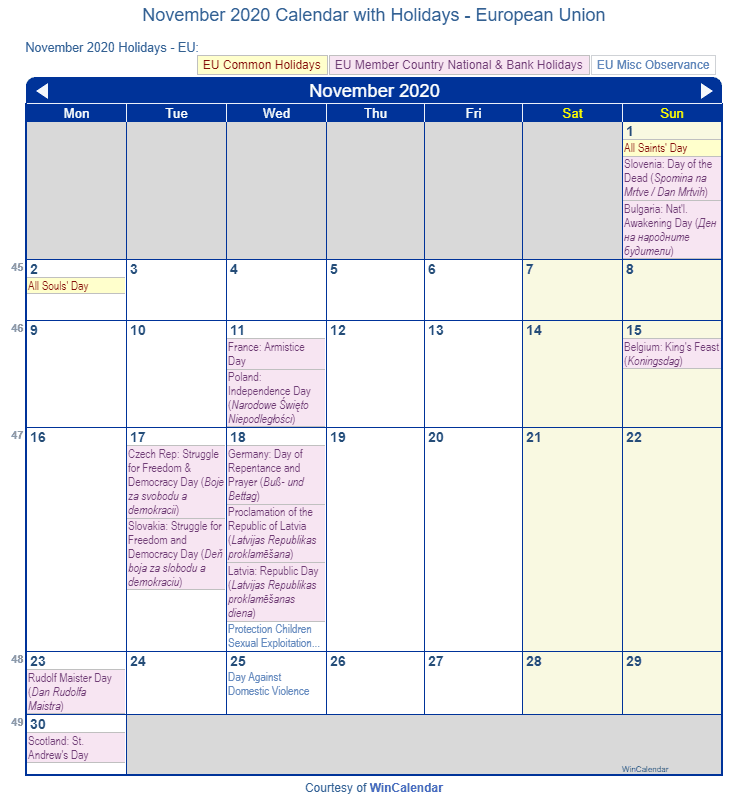 November 2020 Calendar with EU Holidays (Including Christian,  Jewish,)