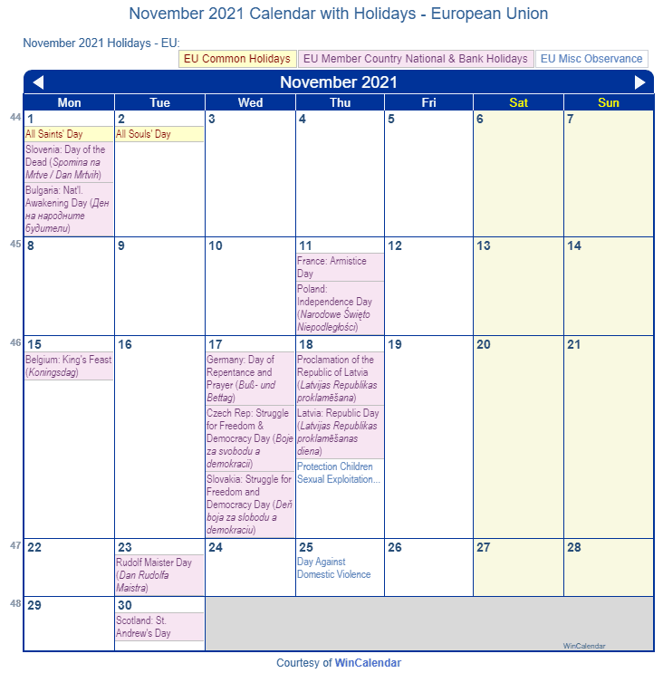 November 2021 Calendar with EU Holidays (Including Christian,  Jewish,)
