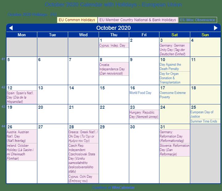 Print Friendly October 2020 EU Calendar For Printing
