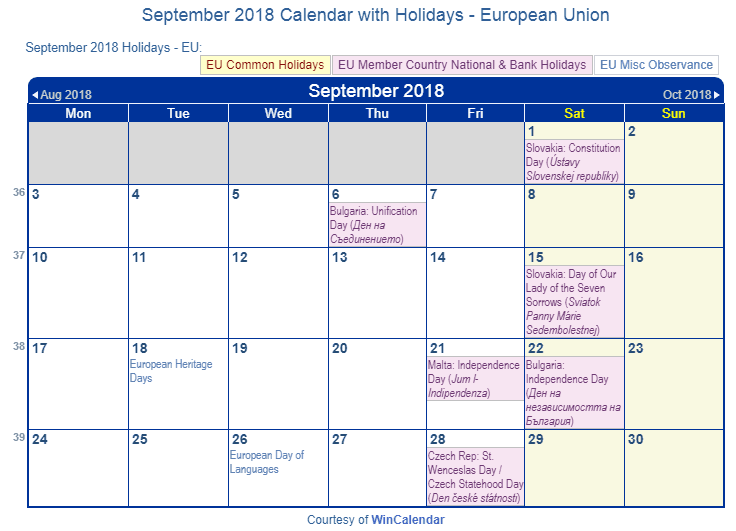 September 2018 Calendar with EU Holidays to Print