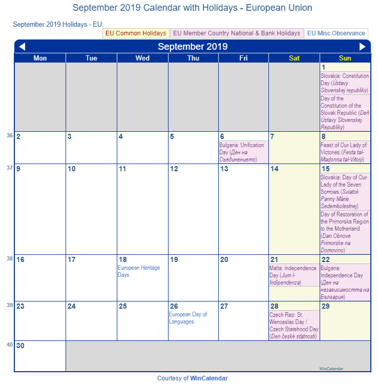 September 2019 Calendar with EU Holidays to Print