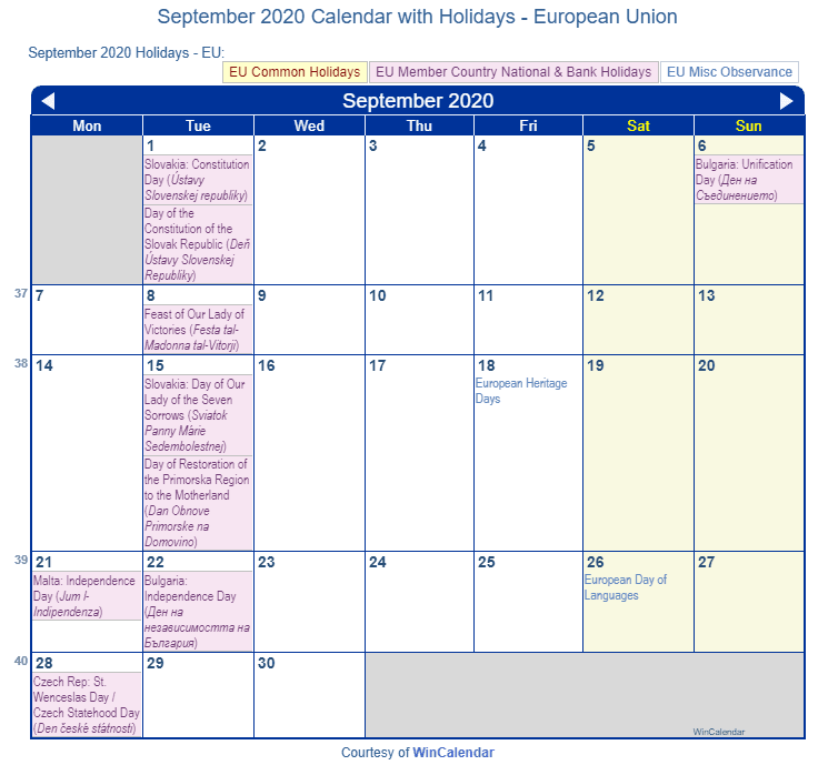 September 2020 Calendar with EU Holidays (Including Christian,  Jewish,)