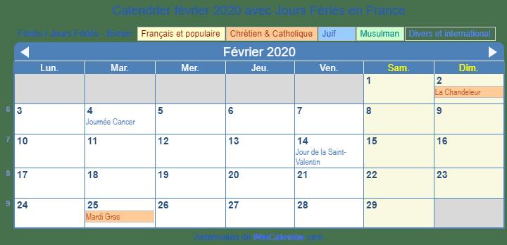 Calendrier Février 2020.France Calendrier Pour L Impression Fevrier 2020