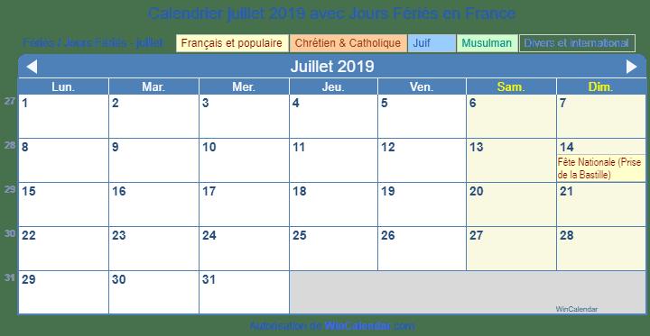 Calendrier A Imprimer Juillet 2019.France Calendrier Pour L Impression Juillet 2019