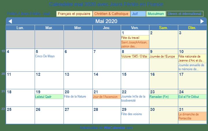 Calendrier Mai 2020 à Imprimer.France Calendrier Pour L Impression Mai 2020