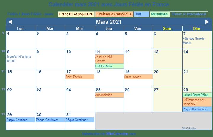 Calendrier Fetes Religieuses Catholiques 2021 Calendrier mars 2021 à imprimer   France