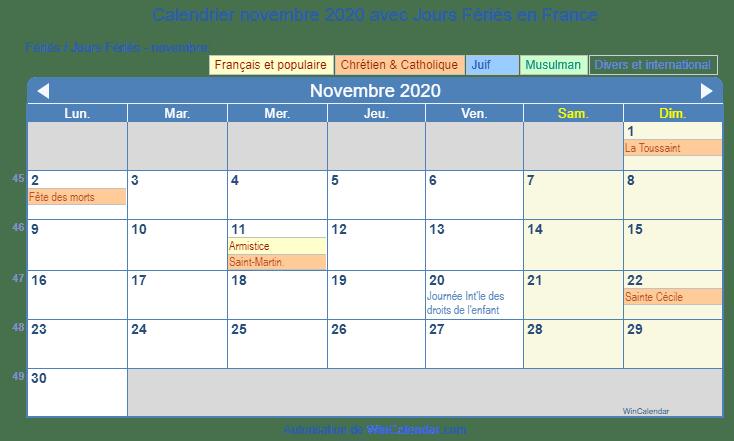 Calendrier A Imprimer Novembre 2020.France Calendrier Pour L Impression Novembre 2020