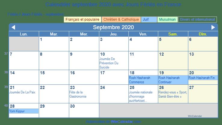 Calendrier De Septembre 2020.France Calendrier Pour L Impression Septembre 2020