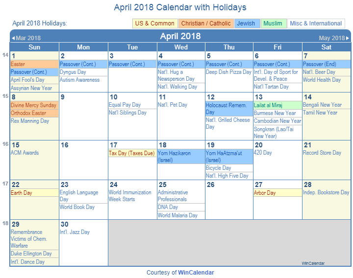 April 2018 Printable Calendar with US Holidays including: Christian, Jewish and Muslim Holidays