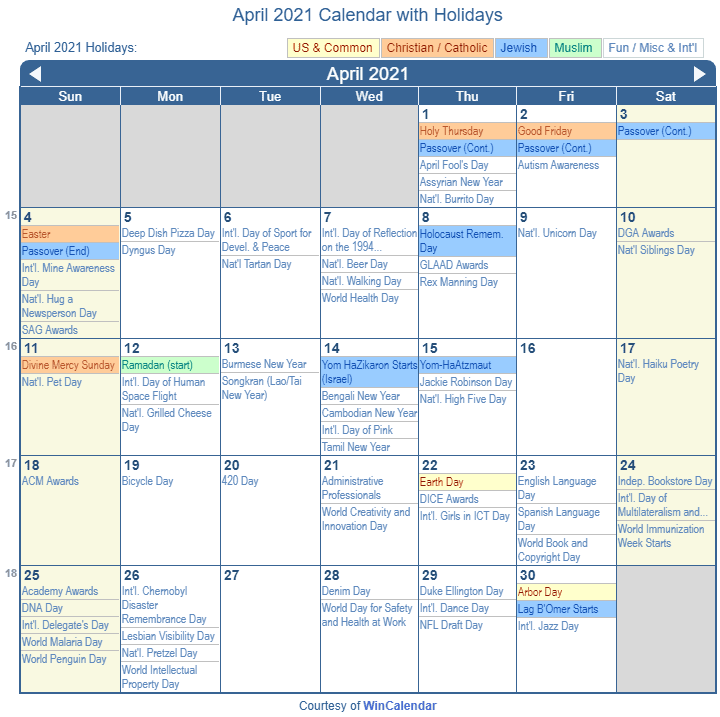 April 2021 Printable Calendar with US Holidays including: Christian, Jewish and Muslim Holidays