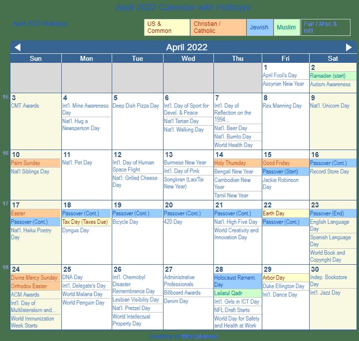 April 2022 Calendar Printable.Print Friendly April 2022 Us Calendar For Printing