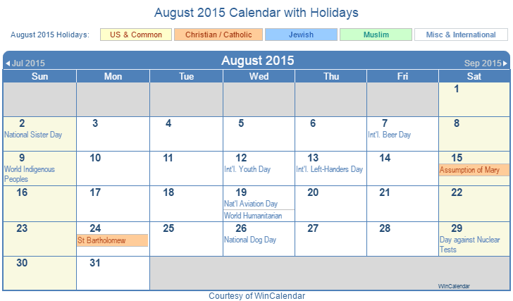 Print Friendly August 2015 US Calendar for printing  Print Friendly ...