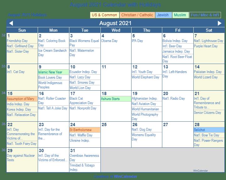 Print Friendly August 2021 US Calendar for printing