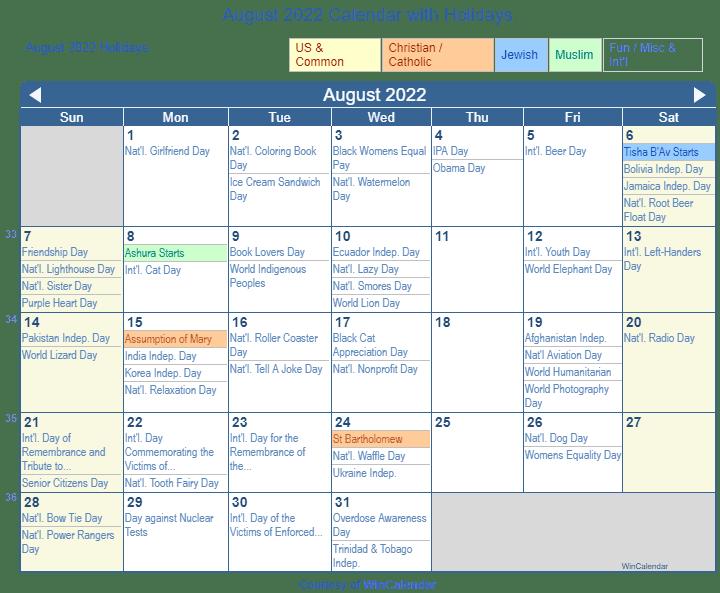 August 2022 Calendar.Print Friendly August 2022 Us Calendar For Printing