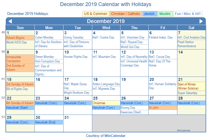 December 2019 Printable Calendar with US Holidays: Christian, Jewish and Muslim Holidays