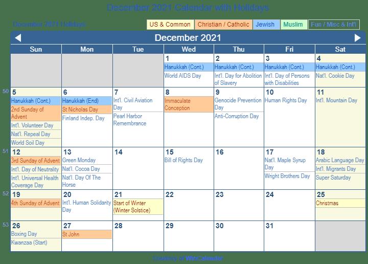 December 2021 Holiday Calendar | Printable March