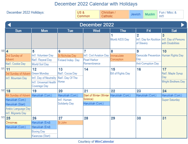 Dec Calendar 2022 Printable.Print Friendly December 2022 Us Calendar For Printing