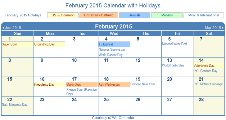 February 2015 Printable Calendar with US Holidays including: Christian, Jewish and Muslim Holidays