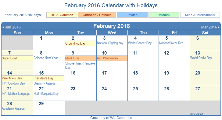 February 2016 Printable Calendar with US Holidays including: Christian, Jewish and Muslim Holidays