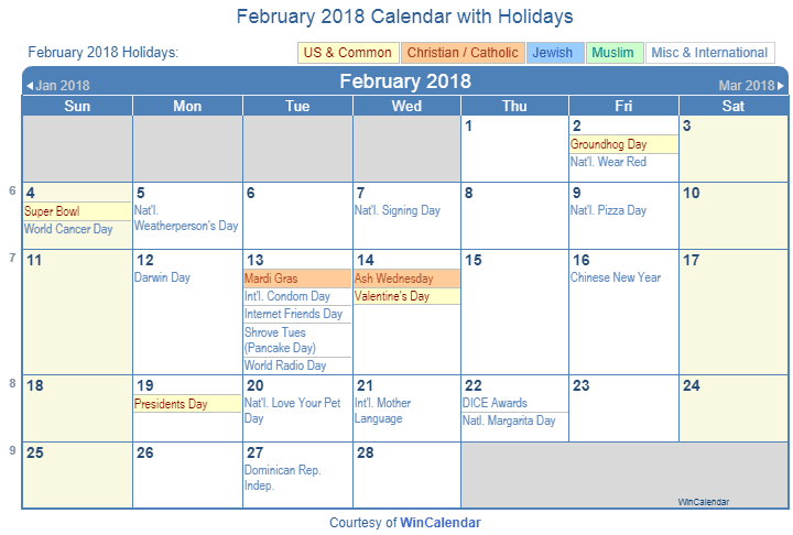 february 2018 printable calendar with us holidays christian jewish and muslim holidays