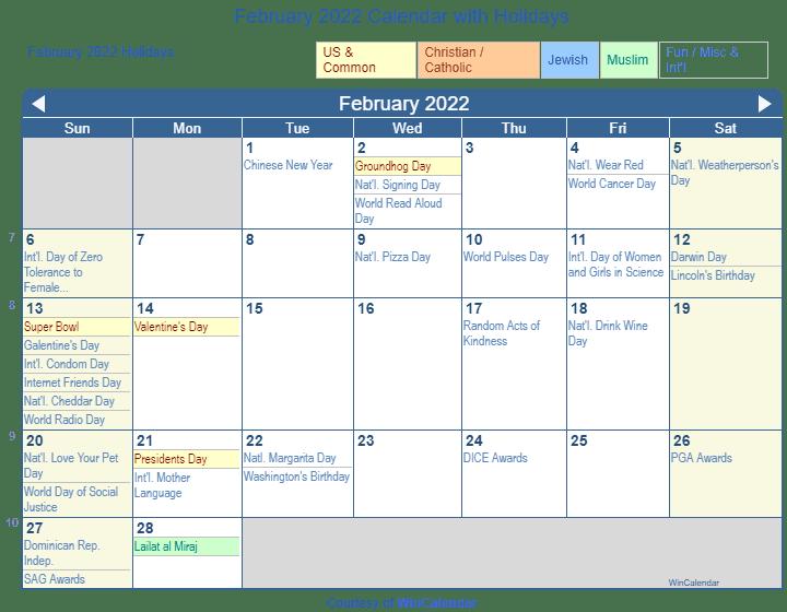 Calendar Feb 2022 Printable.Print Friendly February 2022 Us Calendar For Printing