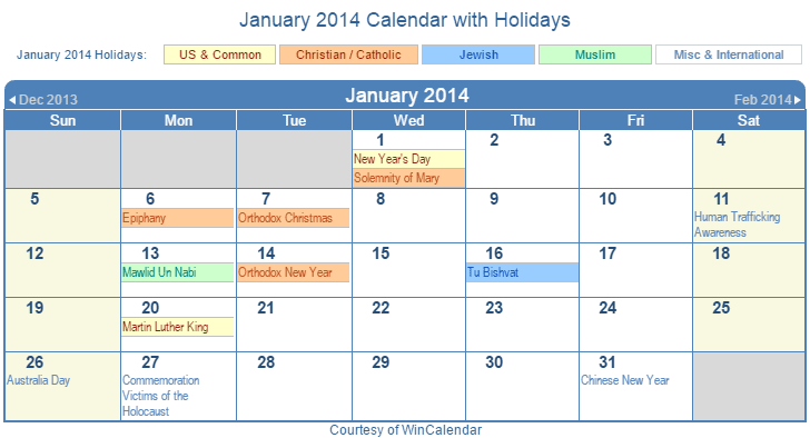 January 2014 Printable Calendar with US Holidays including: Christian, Jewish and Muslim Holidays