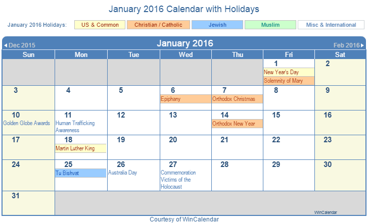 Print Friendly January 2016 US Calendar for printing